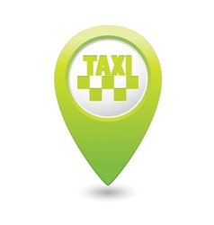 Taxi icon map pointer green vector