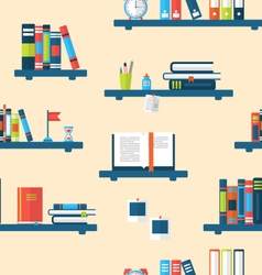 Seamless texture with books on bookshelves vector