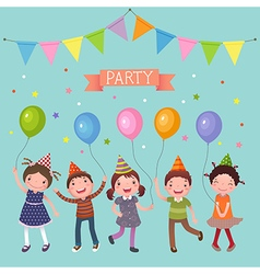 Kids holding colorful balloons at a party vector