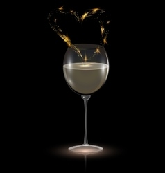 heart and white wine vector image