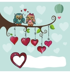 Owls couple sitting on a branch with heart vector