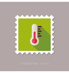 Thermometer flat stamp meteorology weather vector