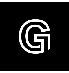 Capital letter g from the white interwoven strips vector