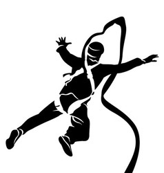 Silhouette of bungee jumper vector