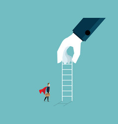 Big hand giving ladder to businessman for help vector