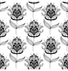 Black and white paisley floral pattern vector