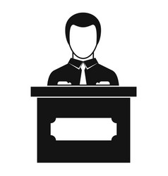 Businessman giving presentation icon simple style vector