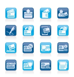 credit card POS terminal and ATM icons vector image vector image