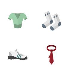 Flat icon dress set of cravat sneakers foot vector