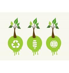 Green concept tree icon set vector image vector image