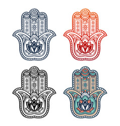 Hamsa hand and ethnic ornament tribal style symbol vector