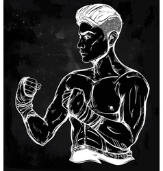 Hand drawn boxer fighter player vector image vector image