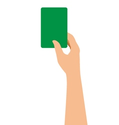 Hand holding a green card isolated on white vector
