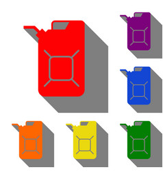 jerrycan oil sign jerry can oil sign set of red vector image
