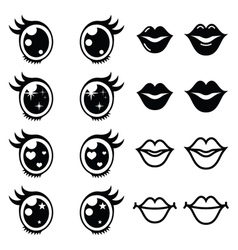 Kawaii cute eyes and lips icons set Kawaii vector image vector image