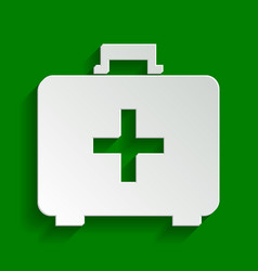 Medical first aid box sign paper whitish vector