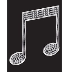 Music note silver icon with diamonds vector image