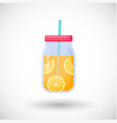 Orange juice in mason jar flat icon vector