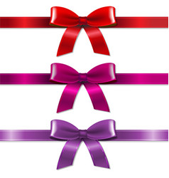 satin color bows set vector image vector image