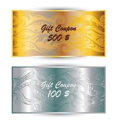 set gift coupon gift card vector image