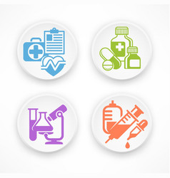 Set of medicine circle icons vector