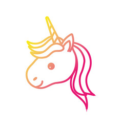 silhouette cute unicorn head with horn and vector image vector image