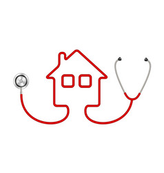 Stethoscope in shape of house vector