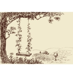 Swing drawing A cute floral swing in the forest vector image vector image