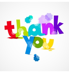 Thank you colorful title with splashes isolated on vector