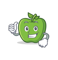 thumbs up green apple character cartoon vector image