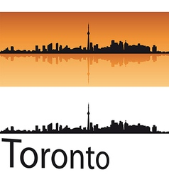 Toronto skyline in orange background vector image