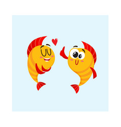 Two golden fish characters showing love giving vector