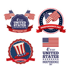 United states independence day labels collection vector