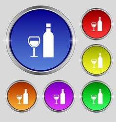 Wine icon sign round symbol on bright colourful vector