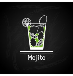 With glass of mojito for menu cover vector