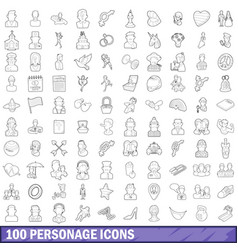 100 personage icons set outline style vector