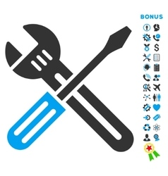 Spanner and screwdriver flat icon with vector