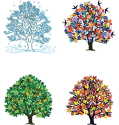 4 seasons over white vector