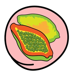 Fresh ripe papayas on round pink background vector