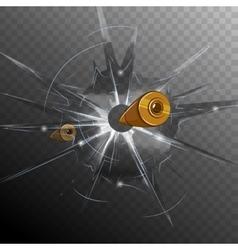 Bullet Broken Glass Concept vector image