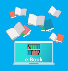 concept e-books world library laptop education vector image