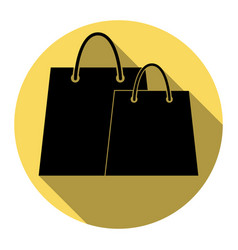 shopping bags sign flat black icon with vector image