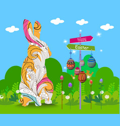 Hanging easter eggs ornament with doodle bunny vector