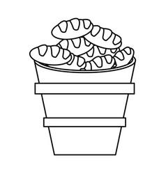 Wooden bucket bread religion symbol outline vector