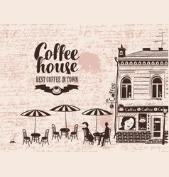 urban landscape with street cafes and love couple vector image