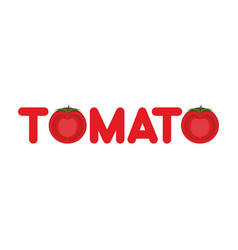 tomato text logo lettering of vegetables letters vector image