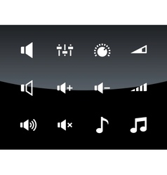 Speaker icons on black background volume control vector