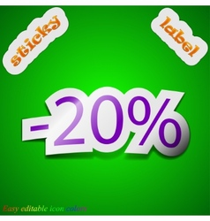 20 percent discount icon sign symbol chic colored vector