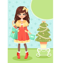 girl and Christmas tree vector image