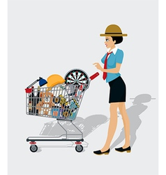Woman shopping cart vector